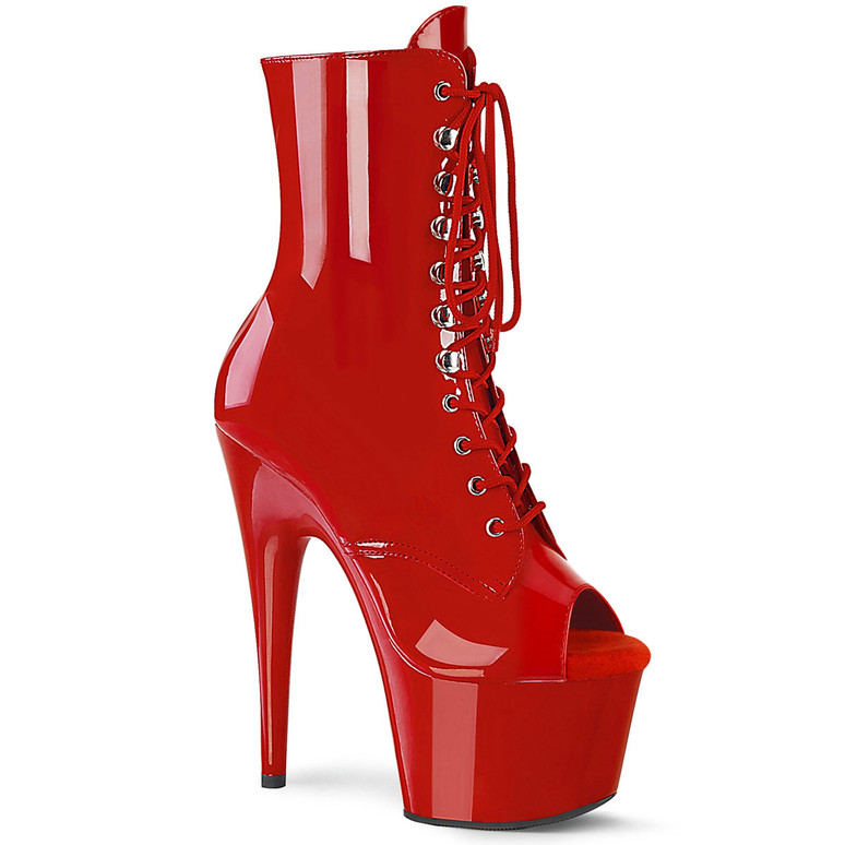 Adore-1021, Red Peep Toe Lace-up 7 Inch Ankle Boots by Pleaser