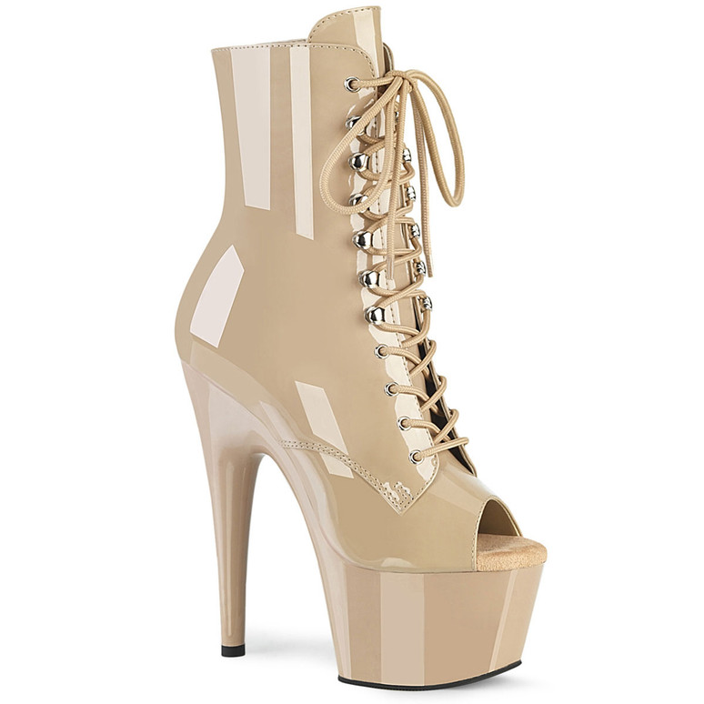 Adore-1021, 7 Inch Nude Peep Toe Lace-up Ankle Boots by Pleaser