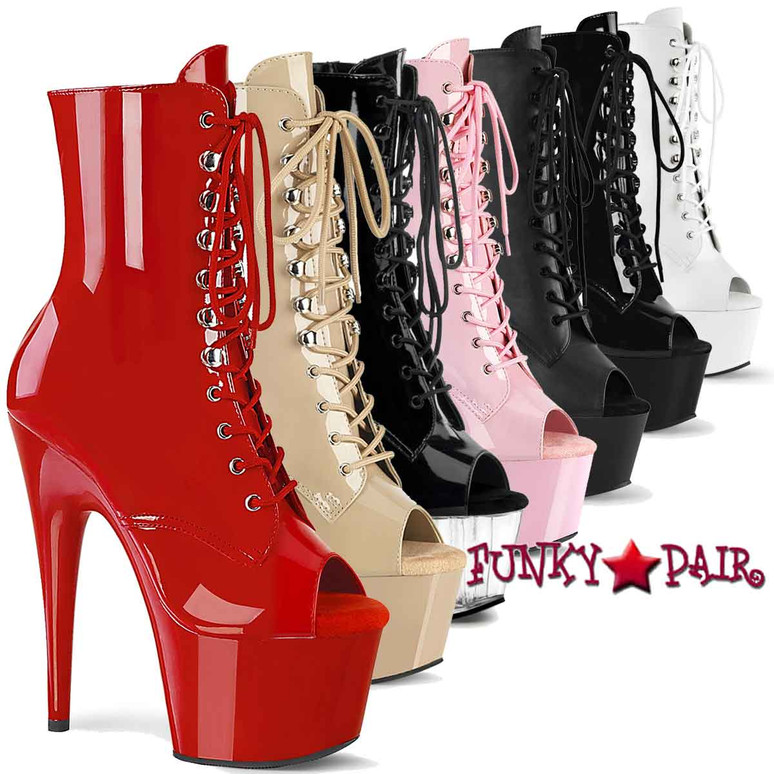 Pleaser | Adore-1021, 7 Inch Peep Toe Lace-up Ankle Boots