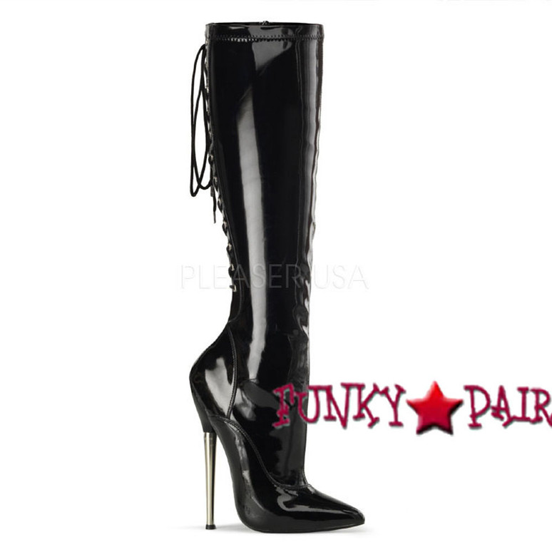 Devious   Dagger-2064 Solid Brass Heel Lace up Boots