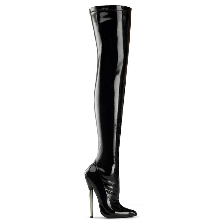 Fetish Solid Brass Heel Thigh High Boots Devious   Dagger-3000