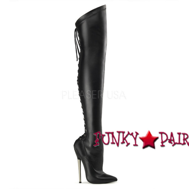 Dagger-3060, 6.25 inch stiletto heel with back lace up thigh high boots color Black Faux leather