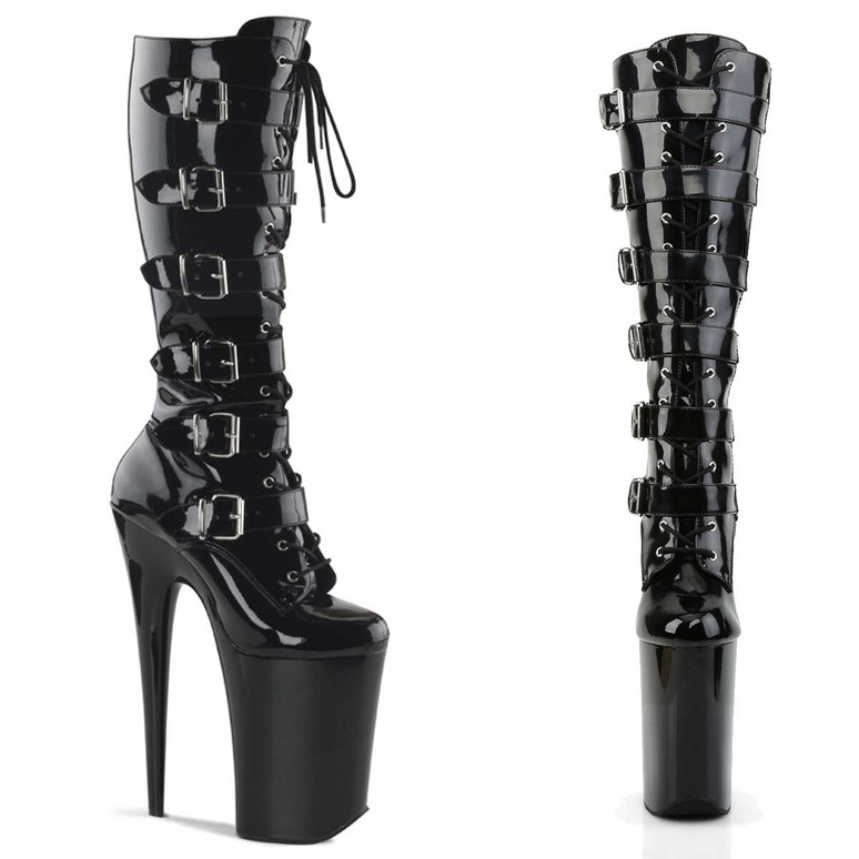 """Infinity-2049, 9"""" Lace up with Buckles Knee High Boots 