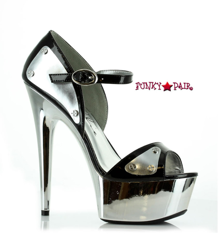 "609-Germini 6"" Chrome Platform D'orsay Pump"