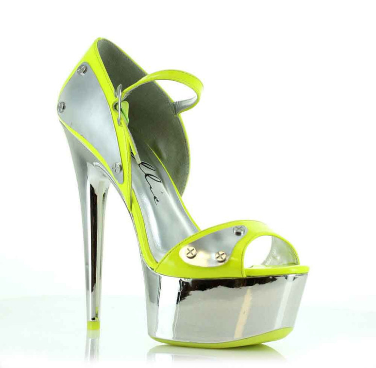 "Ellie Shoes | 609-Germini 6"" Chrome Platform D'orsay Pump"