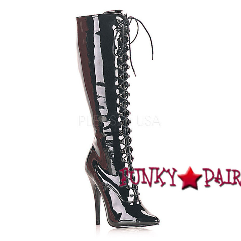 Black Patent  6 Inch Lace-up Knee Boots Devious | Domina-2020