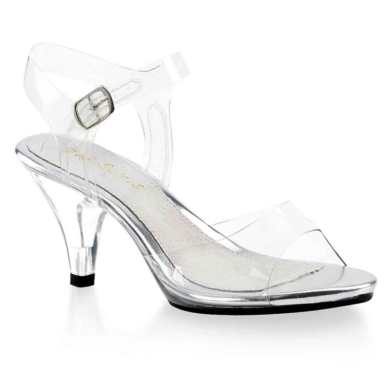 """Fabulicious, Belle-308, 3"""" Clear Heel Ankle Strap Sandal"""
