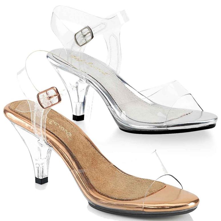 "Belle-308, 3"" Clear Heel Ankle Strap Sandal by Pleaser"