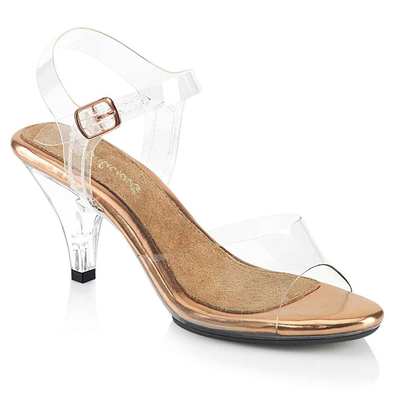 """Belle-308, 3"""" Clear/Rose Gold Heel Ankle Strap Sandal by Fabulicious"""