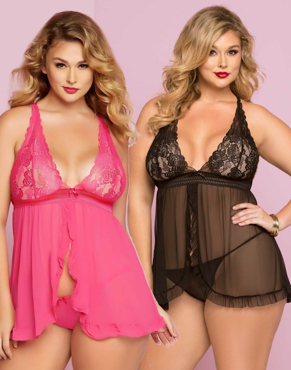 8217423bf30cd Plus Size Galloon Lace and Mesh Babydoll Set STM-10747X