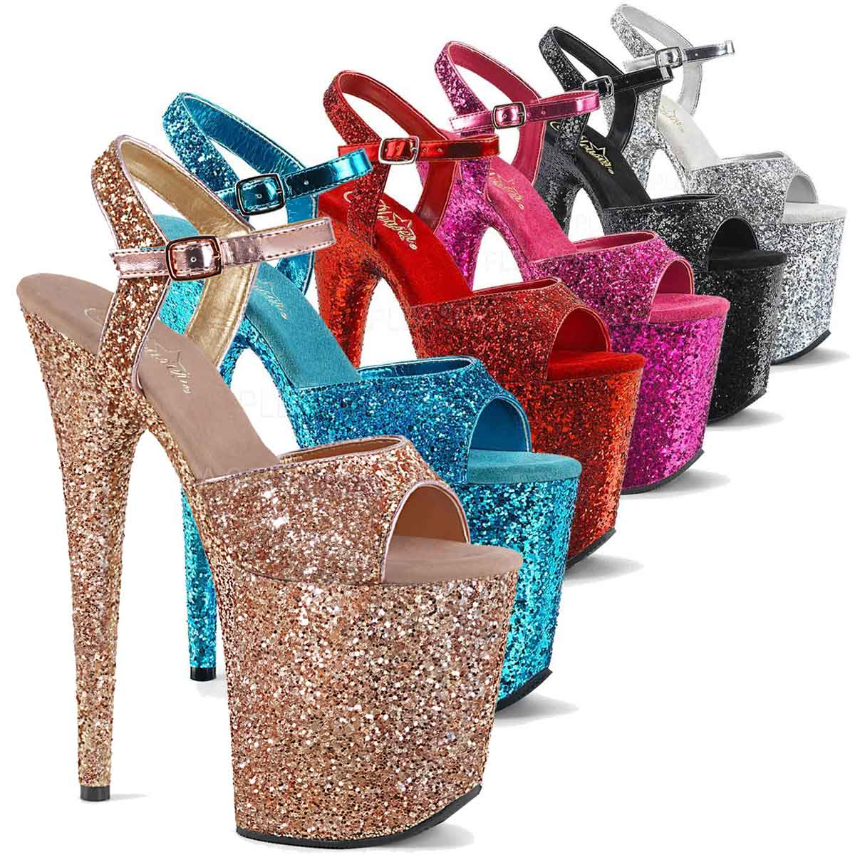 Where To Buy Pleaser Glitter Stripper Shoes color available  Rose Gold 45503b133