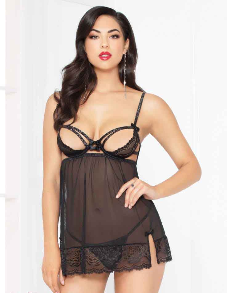 fa6ffa90610 STM-10950, Lace and Mesh Babydoll Set | Seven 'til Midnight front ...