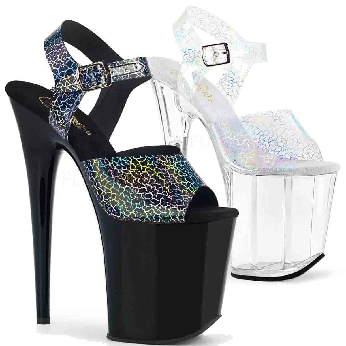 4365cb5e31a Pleaser   Flamingo-808N-CK, Ankle Strap Platform Sandal with Cracker  Hologram
