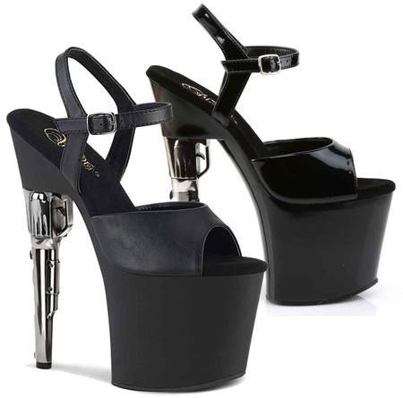 BONDGIRL-769 Pleaser High-Heels Sandaletten Elastikbänder schwarz Pistolenabsatz