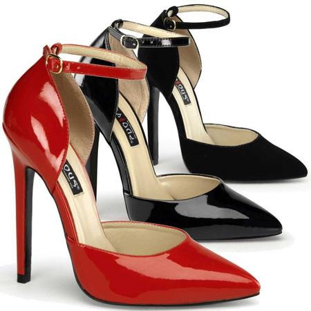 """Details about  /Pleaser 8/"""" black red dorsay platform stripper shoes"""
