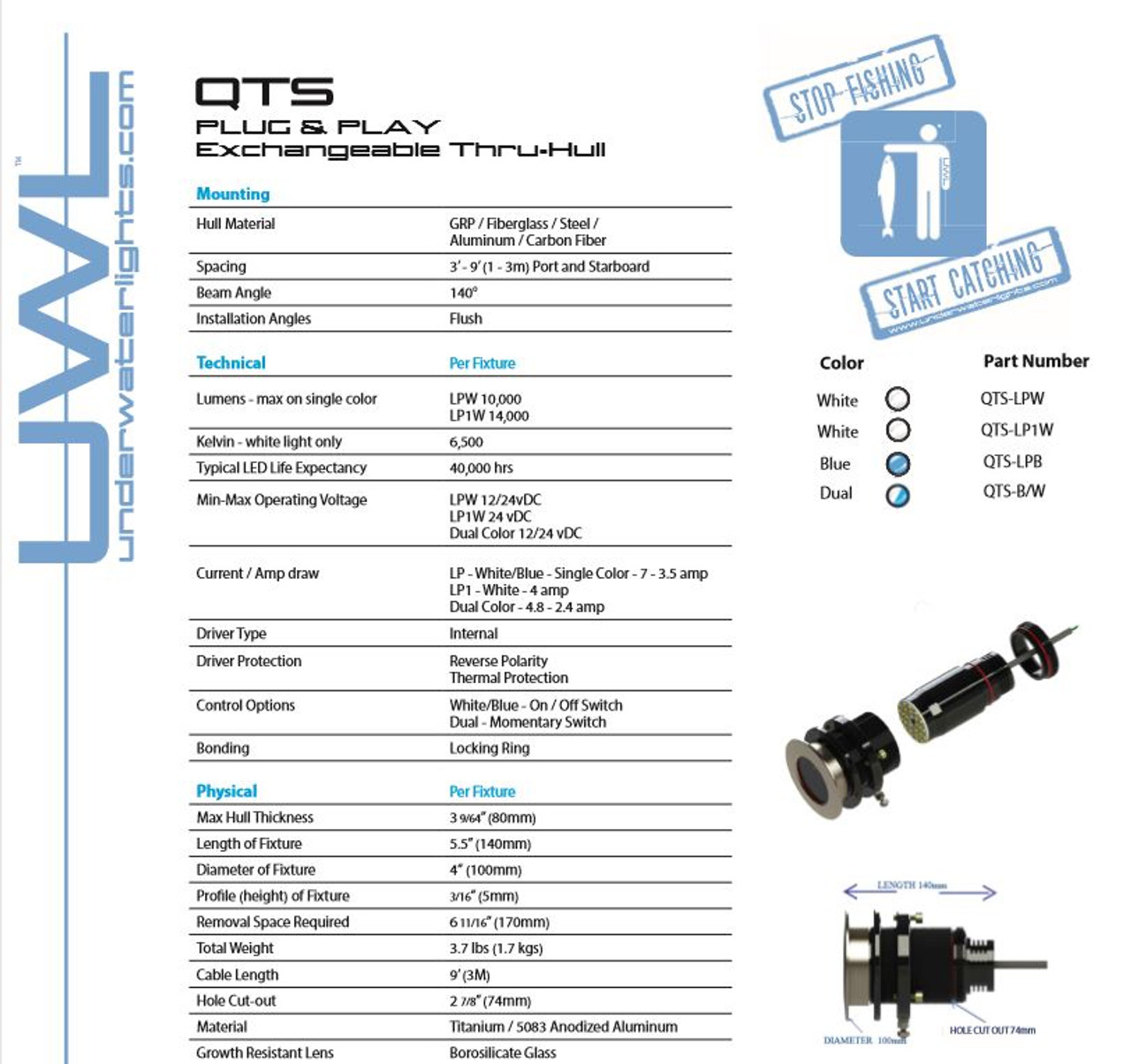 QTS100 Dual Color Underwater Lights Limited (UWL)