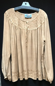 TIENDA HO 1691 EMBROIDERED RAYON OVERSIZED TOP
