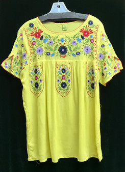Embroidered cotton peasant blouse