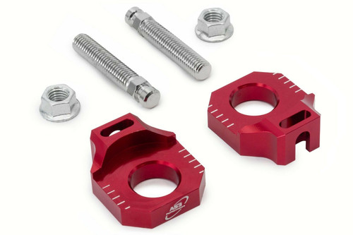 GAS GAS EC 125 200 250 300 2001-2017 AS3 CHAIN ADJUSTER REAR AXLE BLOCKS RED