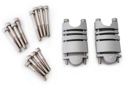 AS3 PERFORMANCE 28.6MM HANDLEBAR BAR RAISERS RISERS KIT 20mm-60mm SILVER
