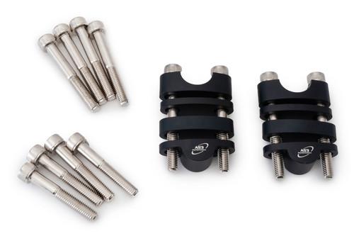 AS3 PERFORMANCE 22.2MM HANDLEBAR BAR RAISERS RISERS KIT 20mm-35mm BLACK