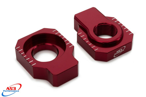 BETA 125 200 250 300 350 390 430 480 RR XTRAINER AS3 CHAIN ADJUSTER REAR AXLE BLOCKS RED