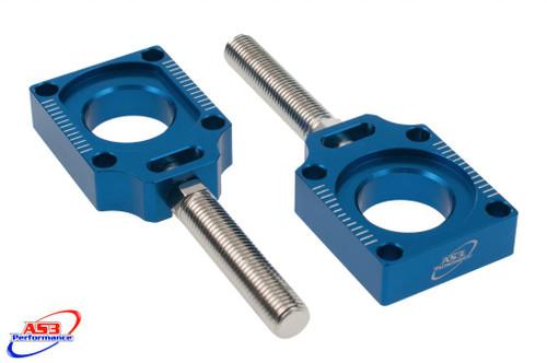 YAMAHA YZ 125 250 2002-2021 YZF 250 426 450 2001-2008 WRF 250 426 450 2001-2021 BOLTED REAR AXLE BLOCKS BLUE