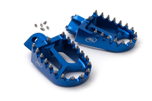 HUSABERG TE FE 125 250 300 350 390 501 570 2008-2014 EXTRA WIDE FAT FOOT PEGS BLUE