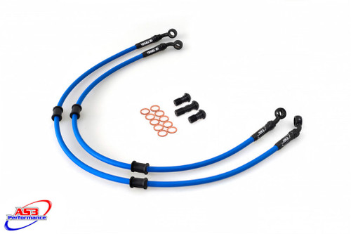 HONDA CB 600 F S HORNET 2001-03 AS3 VENHILL BRAIDED FRONT BRAKE LINES HOSES RACE BLUE