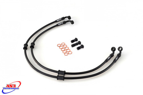 DUCATI 848 2008 AS3 VENHILL BRAIDED FRONT BRAKE LINES HOSES RACE BLACK