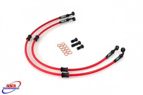 DUCATI 848 2008 AS3 VENHILL BRAIDED FRONT BRAKE LINES HOSES RACE RED