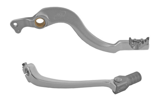 HONDA CRF 450 R 08-16 AS3 FACTORY SERIES FORGED REAR BRAKE PEDAL and GEAR LEVER SILVER