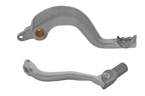 YAMAHA YZ 125 1998-2004 AS3 FACTORY SERIES FORGED REAR BRAKE PEDAL and GEAR LEVER SILVER