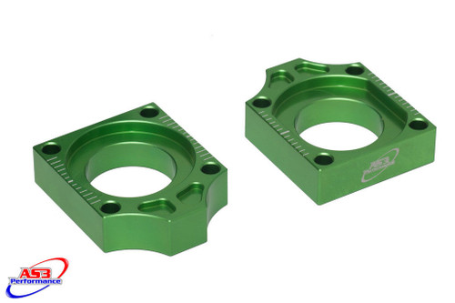 KAWASAKI KX 125 250 03-08 KXF 250 450 04-18 CHAIN ADJUSTERS REAR AXLE BLOCKS GREEN
