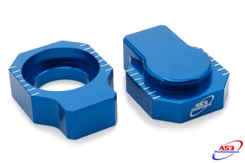 SHERCO SE SC SEF 125 250 300 450 R 08-19 AS3 CHAIN ADJUSTERS AXLE BLOCKS BLUE