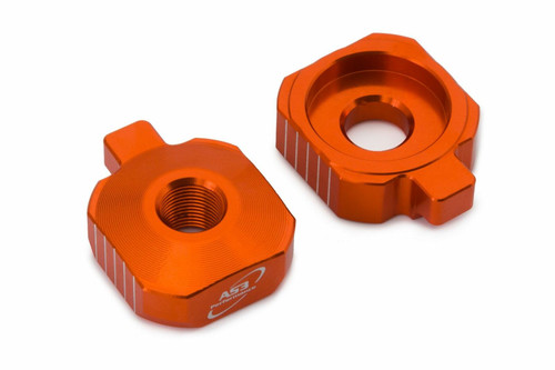KTM 50 SX 2020 AS3 CHAIN ADJUSTER REAR AXLE BLOCKS ORANGE