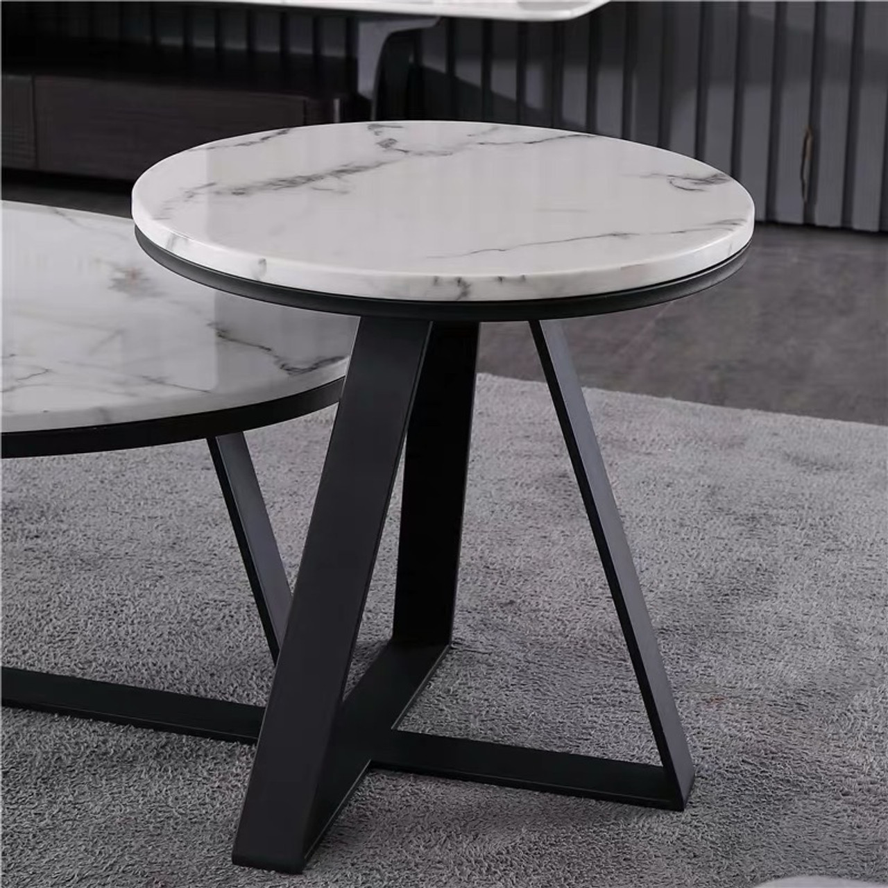 Brand New Natural Marble Coffee Table With Stainless Steel Legs Hallams Home