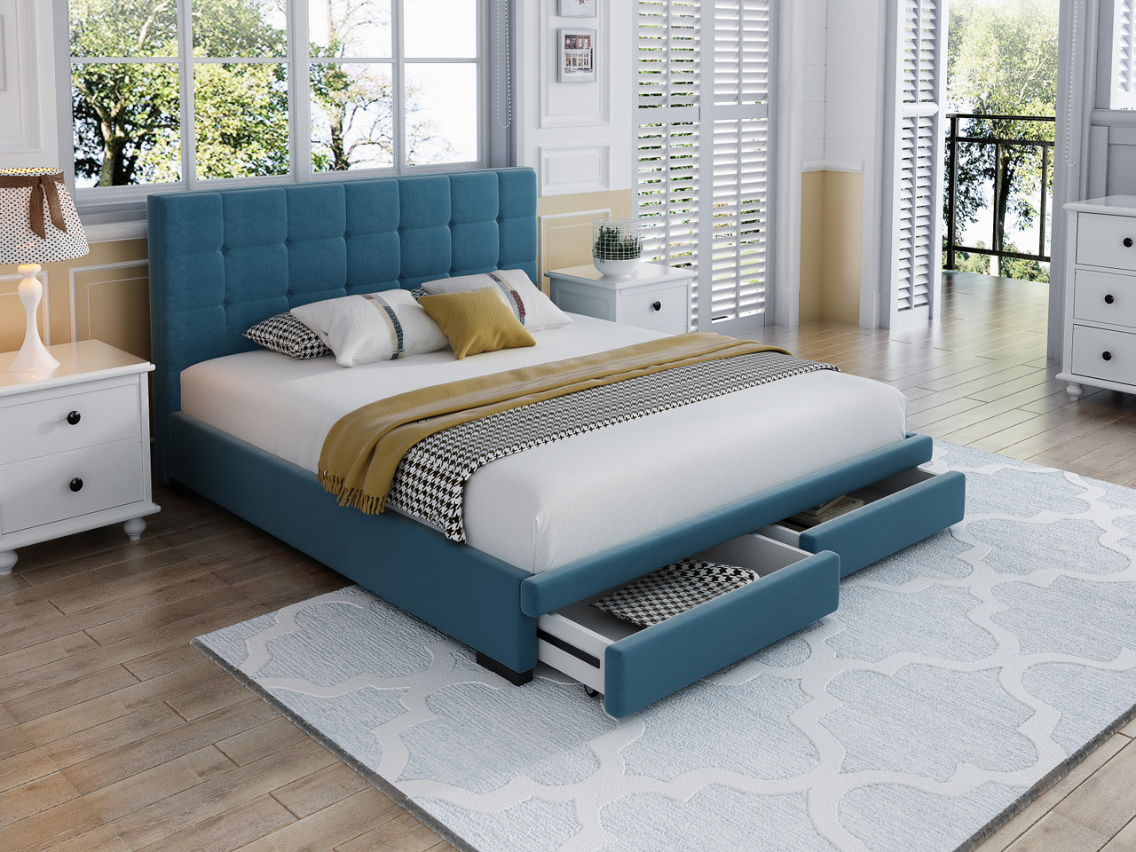 Brand New Velvet Bed Frame With Storage Drawers St8318 Hallams Home