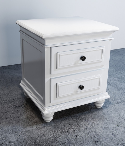 New Beata Bedside / Side Lamp Table w/ 2 Drawers in white finish