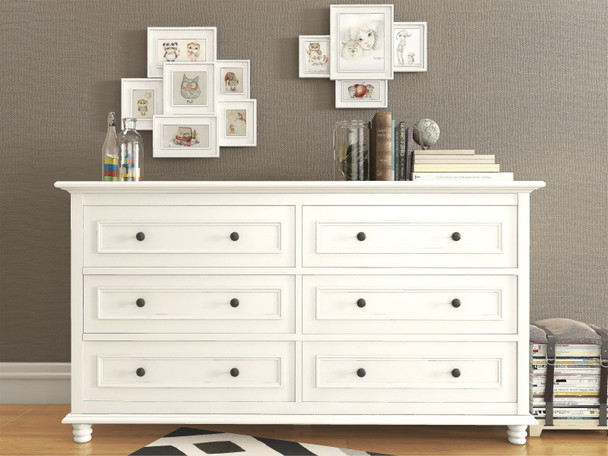 Beata 6 chest of drawers in white finish