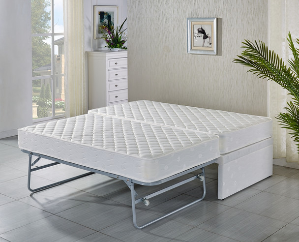 KING SINGLE Base with Trundle bed with 2 pocket spring mattresses- 5 years warranty