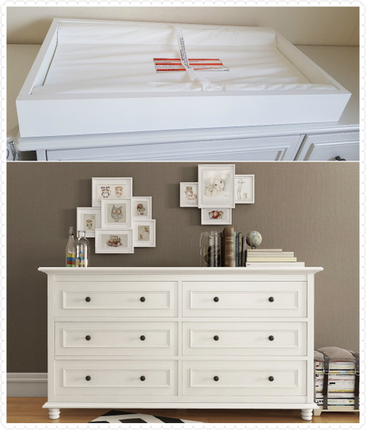 Beata 6 chest of drawers with removable change table top in white finish