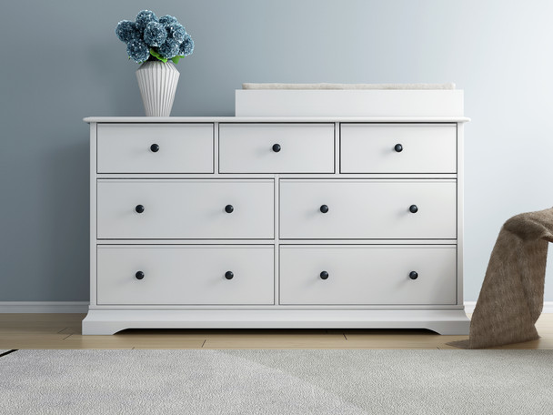 white Cardinia baby change table with 7 chest of drawers