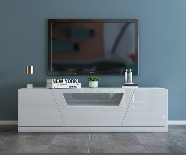 YIMILOVE 1.8m high gloss white TV stand/ entertainment unit
