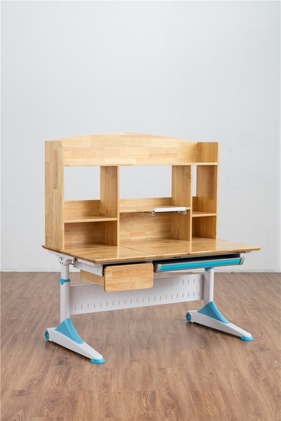 Children Study Desk Ergonomic design/Table Adjustable w/ wooden bookshelf