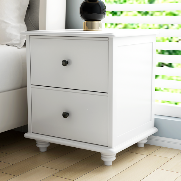 Brand New Olivia Bedside table  in white finish