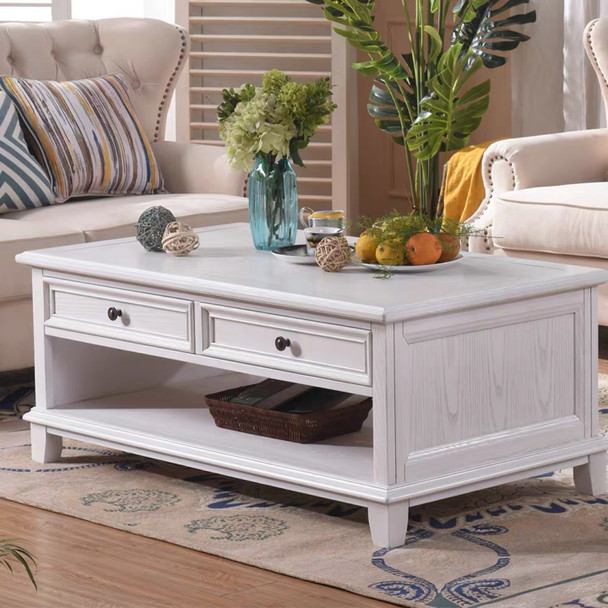 HAMPTON  ash wood coffee table  in antique white