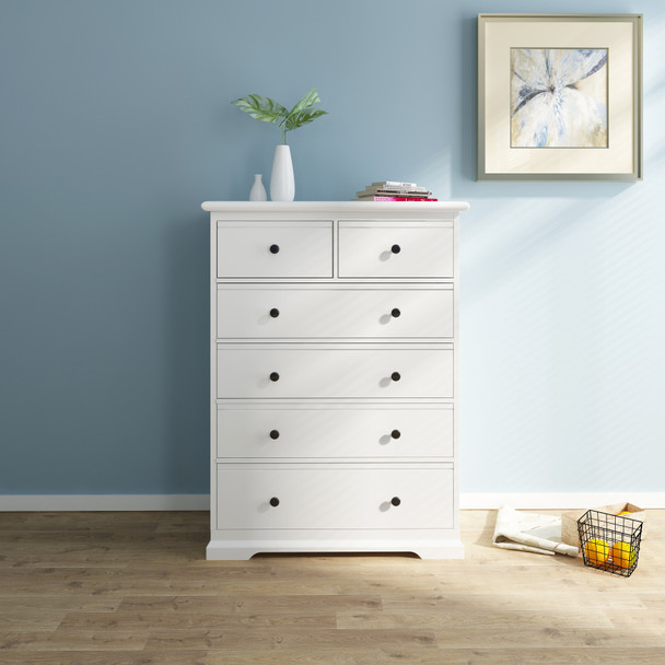Cardinia 6 chest of drawers/tallboy in white