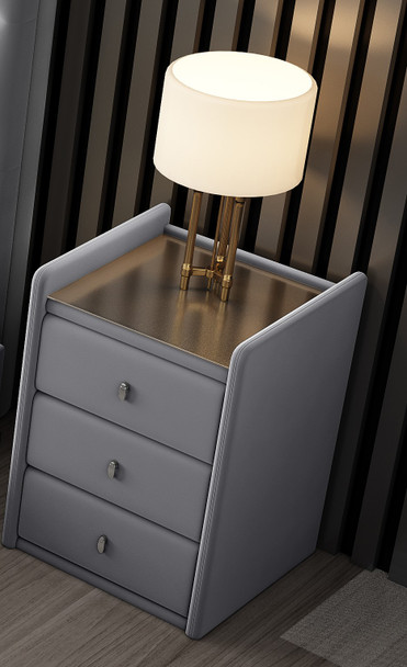 Brand new VELVET BEDSIDE WITH TEMPERED GLASS ON THE TOP IN GREY COLOR