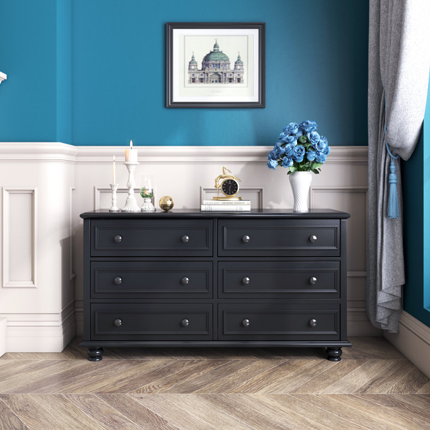 Beata 6 chest of drawers in black finish